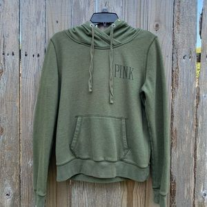 PINK Hoodie in Heathered Army Green